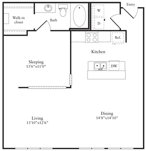 903 sq. ft. H floor plan