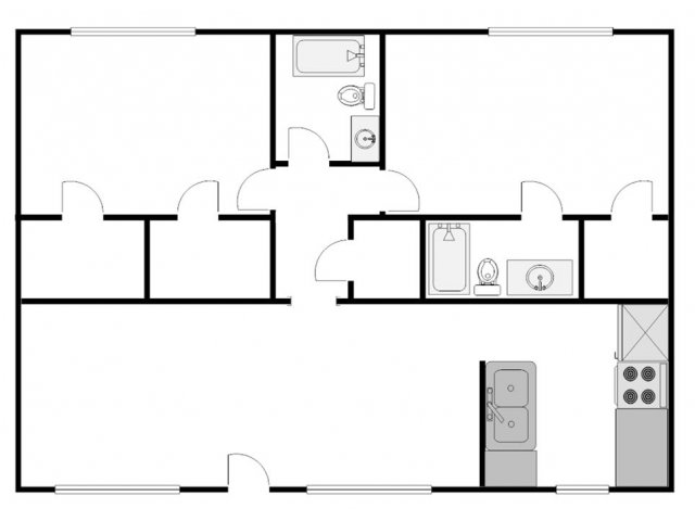 953 sq. ft. F floor plan