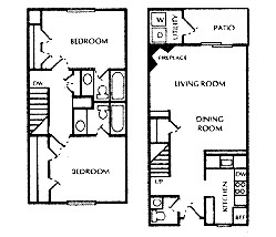 1,064 sq. ft. F floor plan