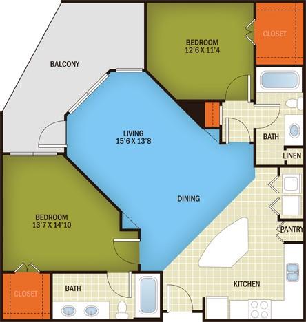1,121 sq. ft. Enfield - B2A floor plan