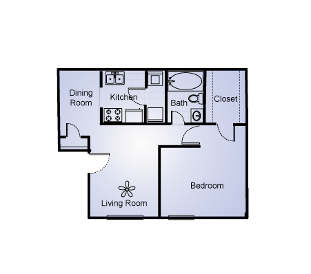 570 sq. ft. floor plan