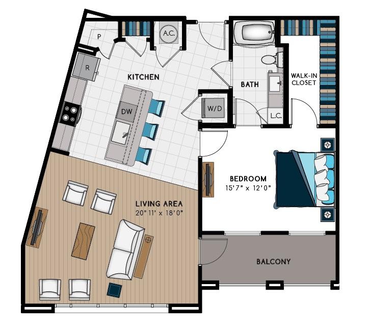 1,040 sq. ft. 1F floor plan