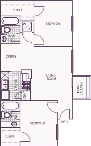 880 sq. ft. E floor plan