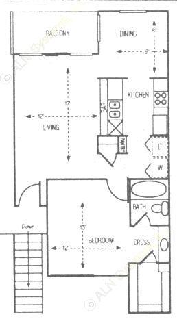 700 sq. ft. Red Oak floor plan