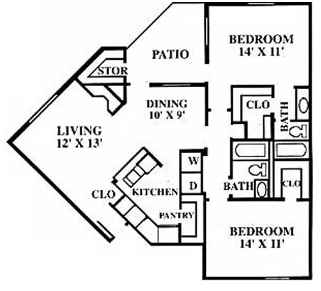 1,055 sq. ft. D floor plan