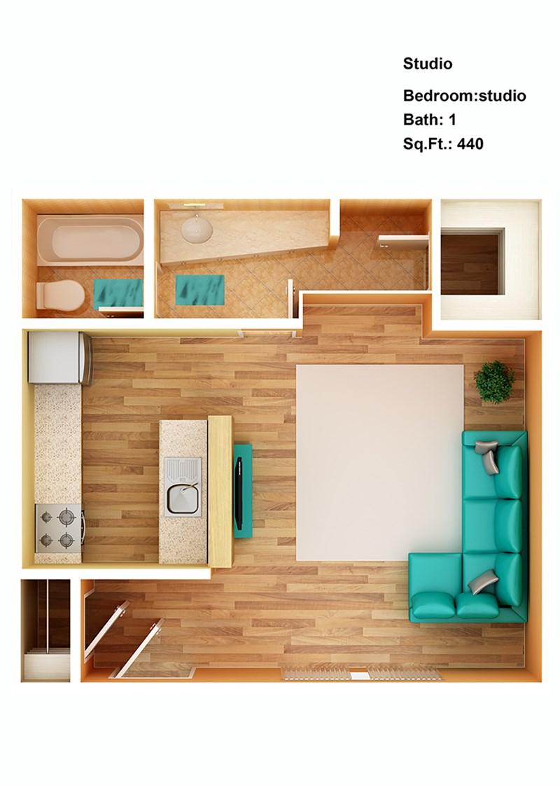 440 sq. ft. Studio floor plan