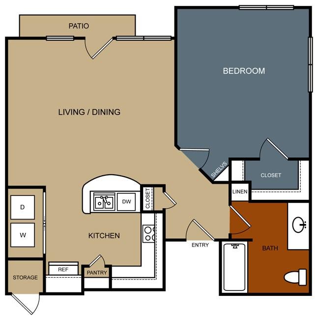 831 sq. ft. A6-30 floor plan