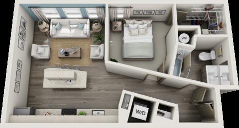 649 sq. ft. A1 floor plan