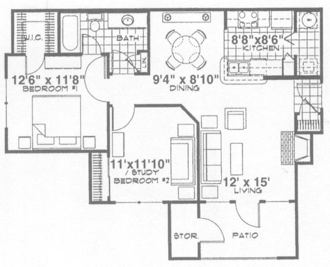 876 sq. ft. Manchester floor plan