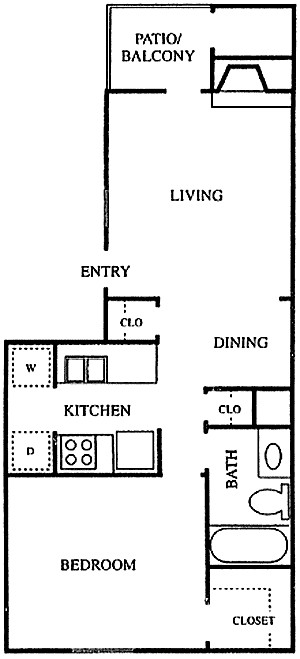 663 sq. ft. A2 floor plan