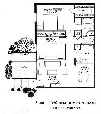 914 sq. ft. F floor plan