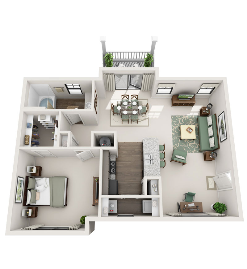 981 sq. ft. A4 floor plan