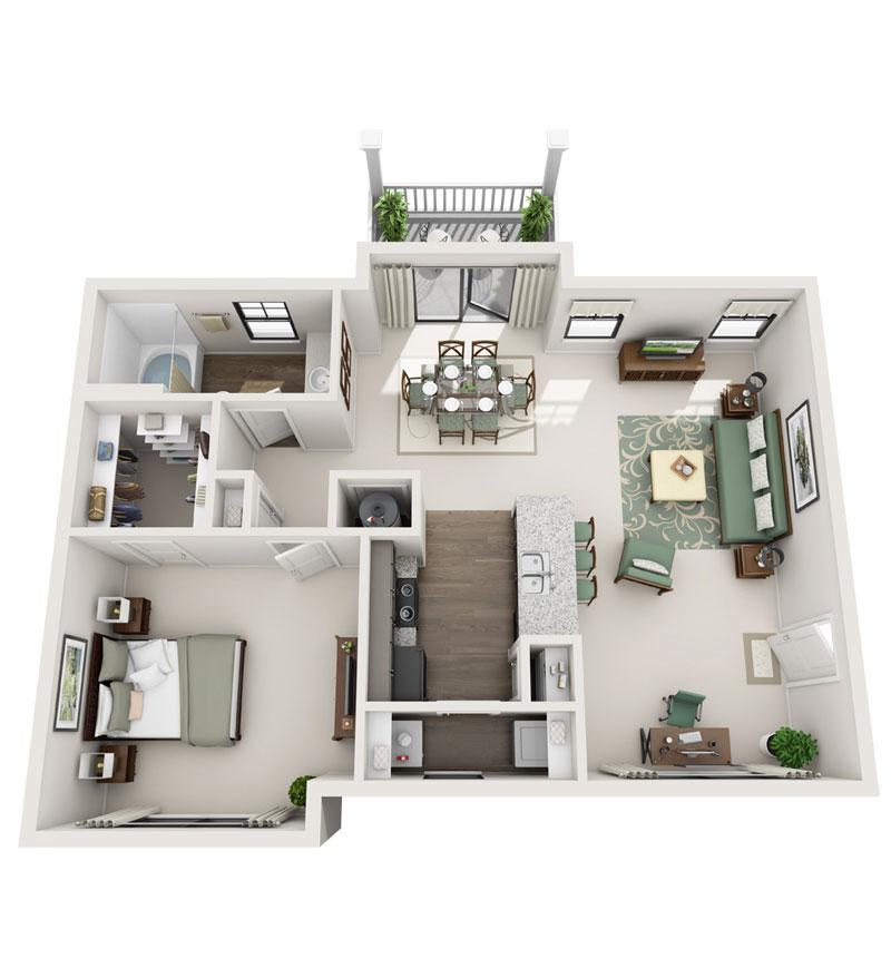 981 sq. ft. A4 floor plan