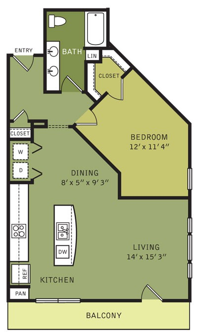 914 sq. ft. A4 (II) floor plan