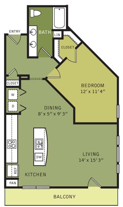 914 sq. ft. A4 (II) floor plan