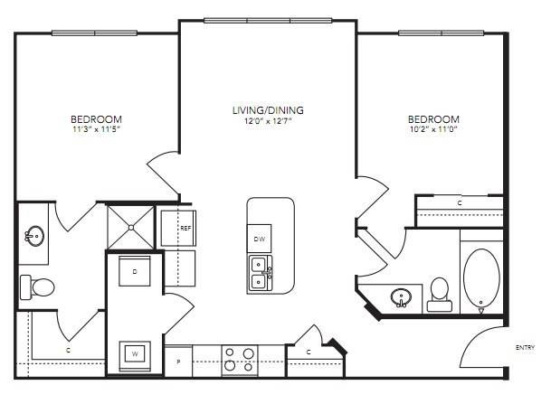 872 sq. ft. B1 floor plan