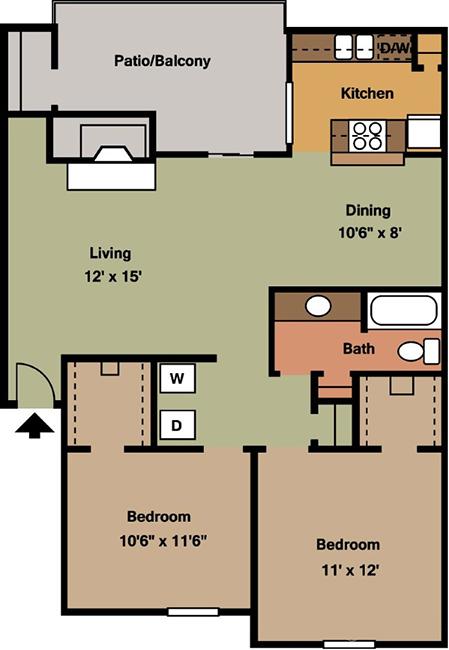 897 sq. ft. B1 floor plan