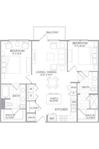 1,143 sq. ft. B1H floor plan