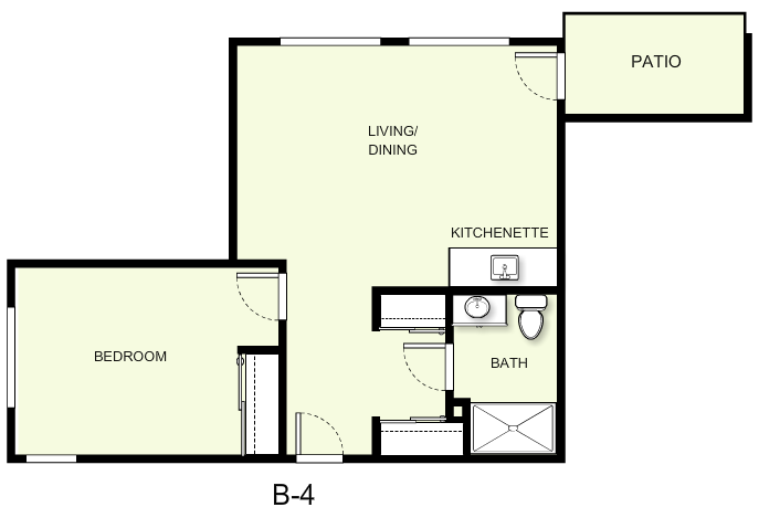 648 sq. ft. B4 floor plan