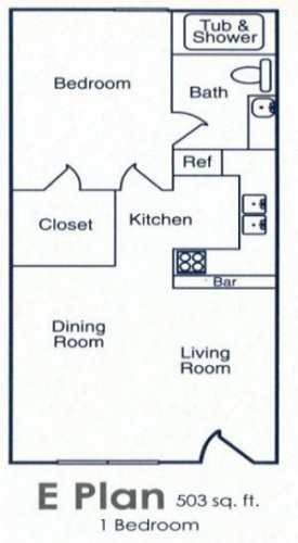 450 sq. ft. to 503 sq. ft. E floor plan