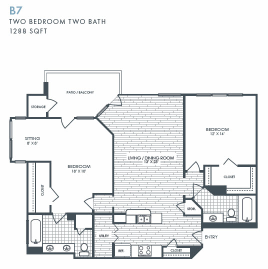 1,288 sq. ft. B7 floor plan