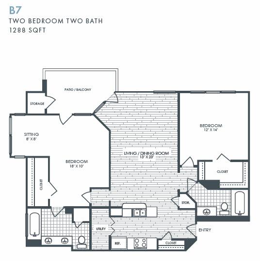 1,288 sq. ft. B7 floor plan