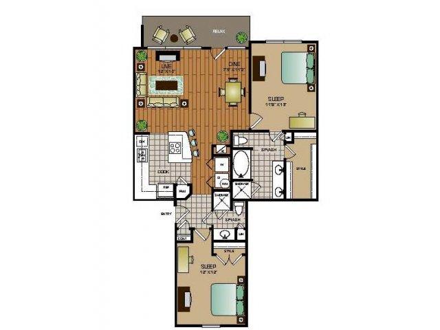 1,136 sq. ft. B4 FLAT floor plan