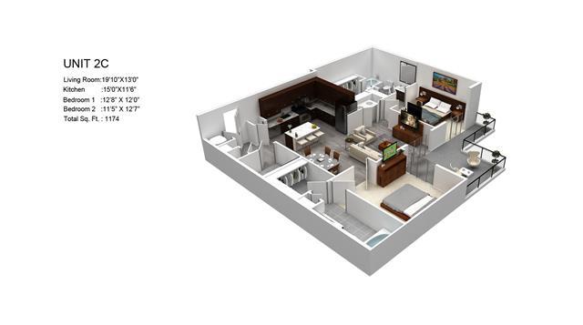 1,174 sq. ft. Hawthorne/2C floor plan