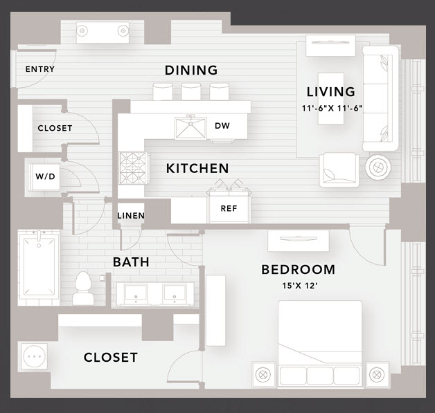 925 sq. ft. A7 floor plan