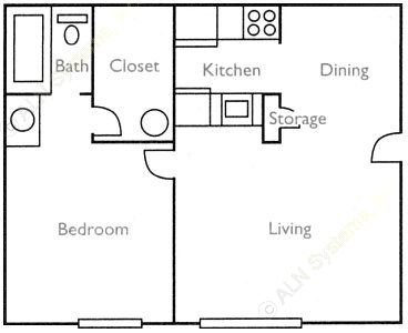 523 sq. ft. Magnolia floor plan