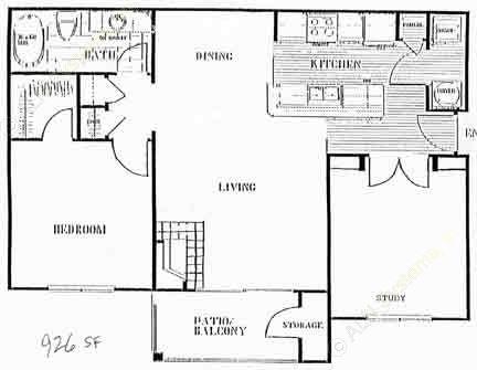 926 sq. ft. to 1,006 sq. ft. D floor plan