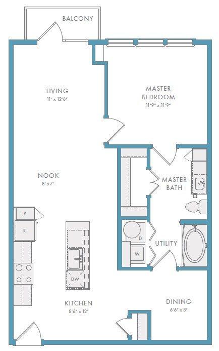 860 sq. ft. A2AR floor plan