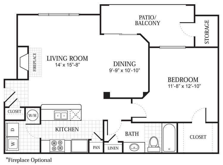 910 sq. ft. A2 floor plan