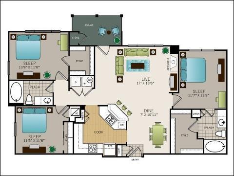 1,316 sq. ft. to 1,362 sq. ft. C1 floor plan