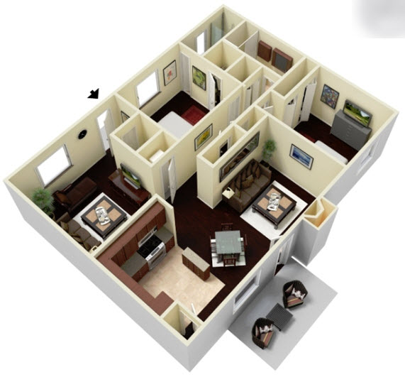 1,321 sq. ft. B2DC floor plan