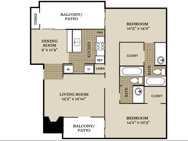 1,141 sq. ft. B2 floor plan