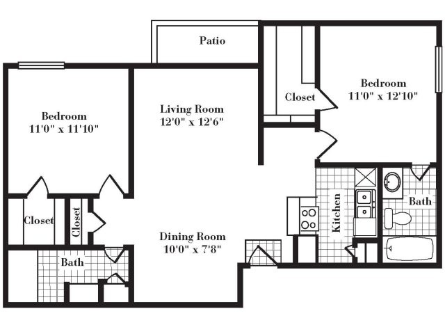 925 sq. ft. B2 III floor plan