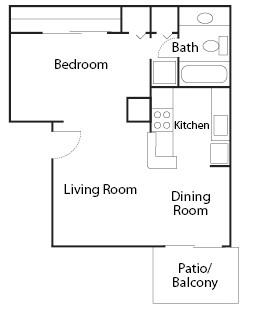 460 sq. ft. EFF floor plan