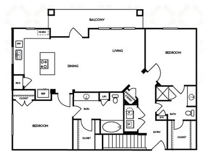1,199 sq. ft. B2.3G floor plan