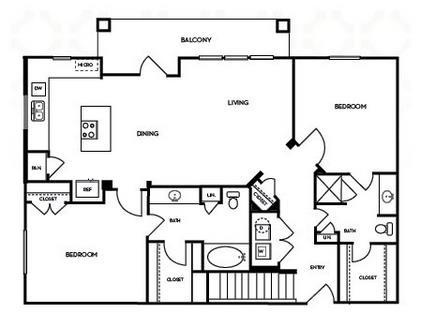 1,199 sq. ft. B2.3G floor plan