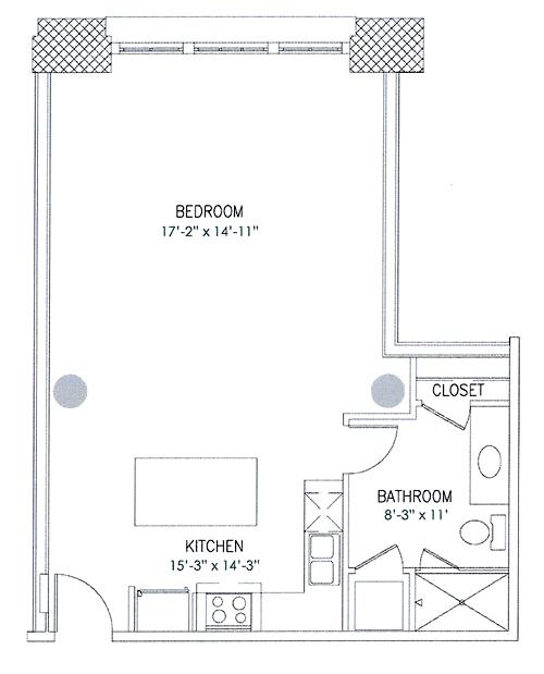 667 sq. ft. Triscuit floor plan