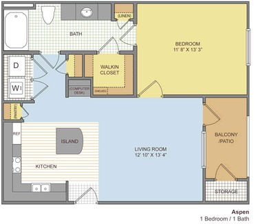 650 sq. ft. Aspen floor plan