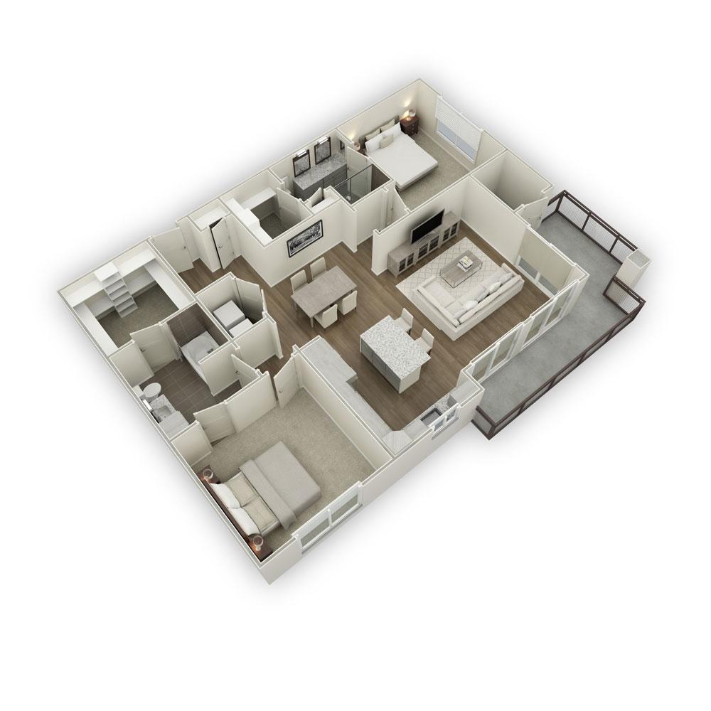 1,348 sq. ft. B3 floor plan