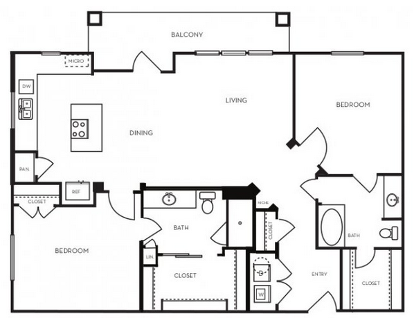 1,199 sq. ft. B2.5 floor plan