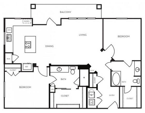 1,199 sq. ft. B2.5 floor plan