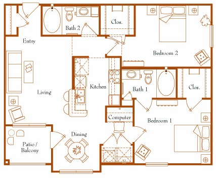 1,040 sq. ft. Lodestar 22A floor plan