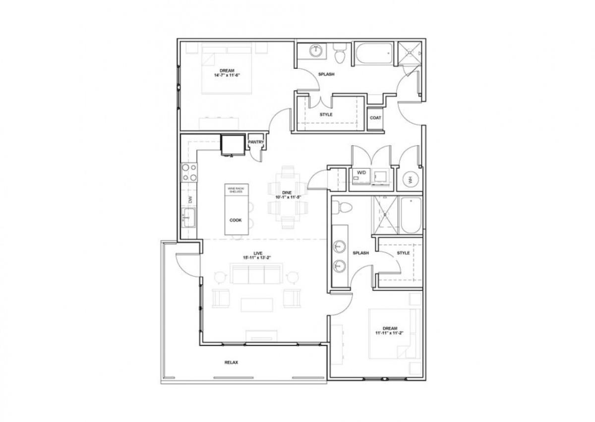 1,252 sq. ft. West End floor plan