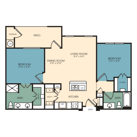 1,075 sq. ft. Centennial floor plan