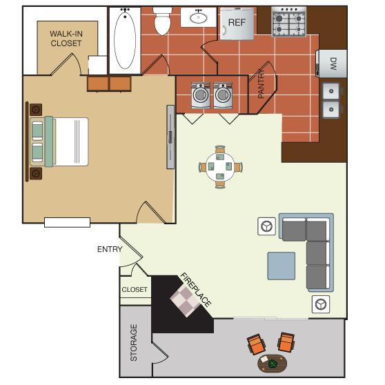 604 sq. ft. 1B floor plan