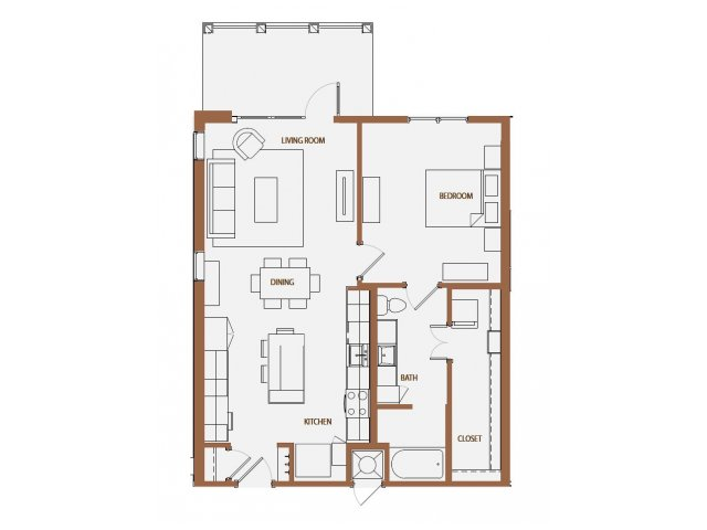 880 sq. ft. A4 floor plan